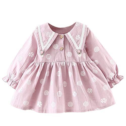 IZHH Kinder Kleider, Kleinkind Kinder Baby Mädchen Langarm Blumendruck Kleidung Party Prinzessin Kleid 6-24 Mt Geburtstag Kleider Outdoor Urlaub Kleid(Lila,6) -