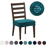 DEZENE Fundas para sillas de Comedor (Paquete de 4): Repelente al Agua, fácil de Instalar, Muy elástica - Silla de Comedor Funda de Asiento/Protector para Mascotas de Perros y Gatos,Verde Azulado