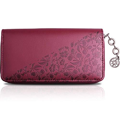 Portafoglio Donna SG ZERO oro-marrone con un elegante disegno a fiori - Portafoglio donna grande, regalo donna, borsellino donna con portamonete