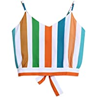 BaZhaHei Chaleco de Mujer Camisa Casual con Cuello en V para Mujer Tirantes Rayas en la Espalda Camisola Camisa Casual con Cuello Camisero con Cordones y Top con Camisa de Color Casual