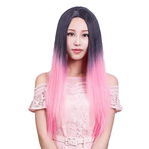 Cmylbaml Capuchon de Couleur Longue dégradé de Cheveux raides et Ensemble de Perruques de Mode féminine et Perruques de Poudre de dégradé Noir