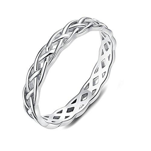 DALARAN Women's Celtic Knoten Ring Silber Ehering Schmuck stapelbar - Schmuck Celtic Womens