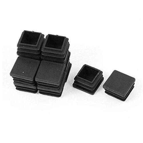 TOOGOO(R) 12 Piezas Plastico Negro Cuadrado Tapones Para Los Extremos Tubo Insertos 20mm x 20mm