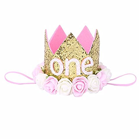 FEESHOW Infant Baby Toddler Princess Bride/1st Birthday Headband Party Flower Crown Hat Tiara Hair Band Pink and Creamy White Flowers