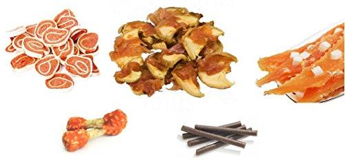 Snack Dog Assortito Sfuso Mix 1 Kg x 5 gusti Barrette Manzo, Rotolini Pollo Merluzzo, Bocconcini Pollo e Mela, Filetti Pollo e Formaggio, Ossicini al Pollo