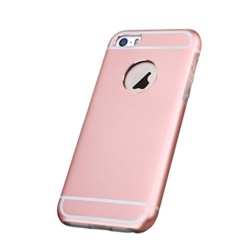 Besta Curved Slim couvercle en métal Aluminium + Inner Case TPU souple pour iphone5 5s/iPhone SE,Housse de protection pour haute qualité Apple iPhone 5 5s/iPhone SE -Gris C/Rose Gold