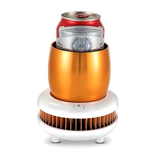 DHVK Eismaschine Instant Cooling Cup, tragbare elektrische Kühler Smart Gerät schnellkühlung Mini Mobile Kühlschrank Kühlt für Getränke Wein Bier Cola,Gold -