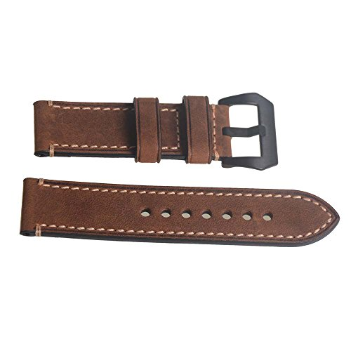 weone-24mm-brown-vintage-genuine-leather-watch-band-wristwatch-strap-watchband-with-black-buckle