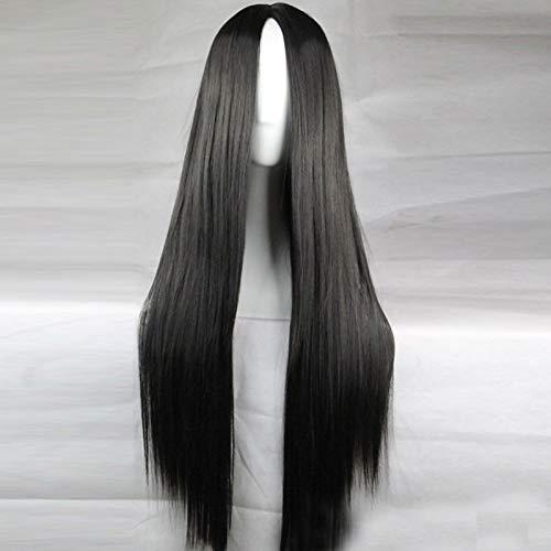 xiaofengliustore Perücke:Synthetische Perücken Asymmetrischer Haarschnitt Kappenlos Perücke Schwarz Synthetische Haare 28 Zoll Damen Natürlicher Haaransatz Schwarz Perücke Lang:Schwarz