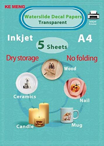 KE MENG A4 Inkjet Waterslide Aufkleber Papier DIY Bild Transferpapier für Tintenstrahldrucker 5 Sheets durchsichtig -