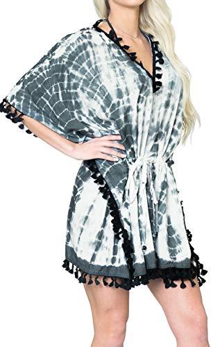 LA LEELA Strandmode Boho Bikini Überzug Top Tunika Caftans Damen Tie Dye Drawsting - Schwarz - 16/32W [XL - 5X] Einheitsgröße -