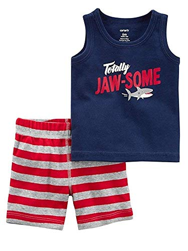 d74de50ae1a8 Carter s Baby Boys 2 pc Cotton Tank Top and Shorts Set Shark Embroidered on  Behind (