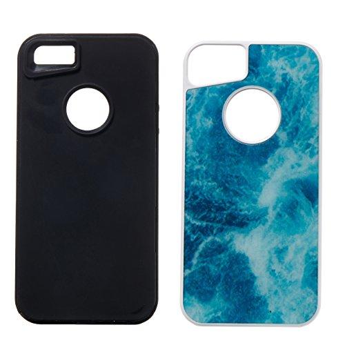Case avec Marble Effect Naturel pour iPhone 5 /5S /SE , Sunroyal Marble Pattern Dual Layer PC Souple Silicone TPU Coque Shell Flexible Soft Caoutchouc Gel coquille Etui Housse Motif Marbre Grain Back  Océan