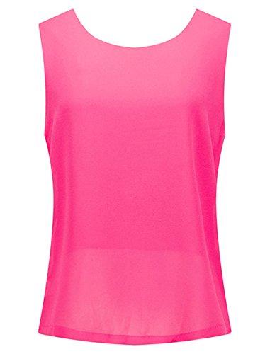 Tanktops Sommer Reizvolle Schlinge Rückenfrei Chiffonhemden ärmellos T-shirt Mode Rundhals Hemden Einfarbig Loose Blouse Jumper Rot