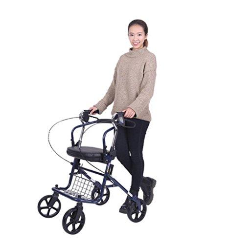 Leichtes Falten 4 Rad Shopping Trolley mit gepolstertem Sitz, älterer Help Walking Trolley, abschließbare Bremsen und tragen Korb , blue (Vier-rad-rollator)