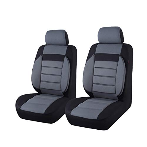 Auto Pass-6Elegance Universal Automarke Front Seat Covers Set package-fit für Fahrzeuge, schwarz und grau mit Composite Schwamm Innen, Airbag kompatibel (Seat Cover Auto)