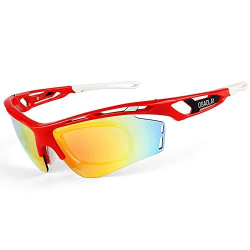 W.zz Reiten polarisierten Sonnenbrillen Herren Nachtsicht-Sonnenbrille Outdoor-Reitbrille geeignet für Motorräder Radfahren Fahren Laufen Angeln,red