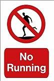 """Schwimmbecken-Warnschild: """"No Running"""" (in englischer Sprache), A5-Größe auf Vinyl"""