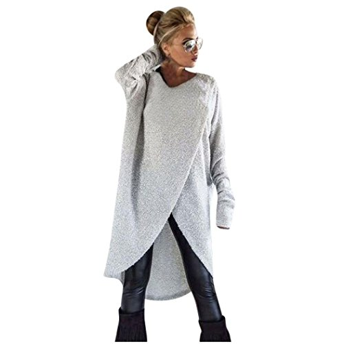 FORH Damen Mode Unregelmäßige Stricken Pullover Sweatshirt Winter warme Lange Rundhals Strickjacke Tunika Mäntel Loose Langarmshirts Pullikleid Top Minikleid (Grau, M)