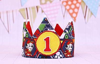 Corona de tela patrulla canina, corona primer cumpleaños niños, regalo infantil