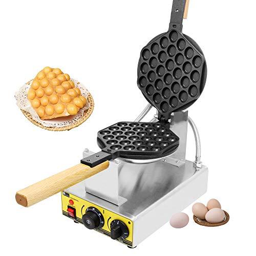 CGOLDENWALL NP-547 Gofrera Máquina de Gofre Eléctrica con Forma de Huevo del Estilo de Hong Kong Bubble Waffle Maker Antiadherente con Control de Temperatura 0-300℃ Certificado CE (220V)