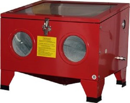 Mauk 1981 Sandstrahlkabine 78 Liter inkl. Zubehör und Beleuchtung, 8 W, 220 V, Rot