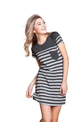 Suntasty Damen Nachthemd kurz Negligee Kleid Gestreiftes Sleepshirt mit Brusttasche Viskose Nachtwäsche(Grey,M,1004W) (Kurzarm-nachthemd)