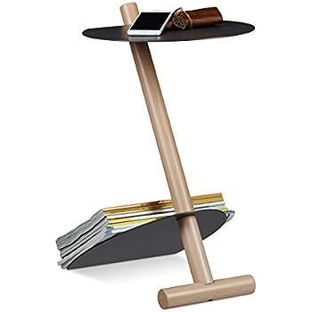 Relaxdays Beistelltisch mit Zeitungsständer, Metall, Holz ...