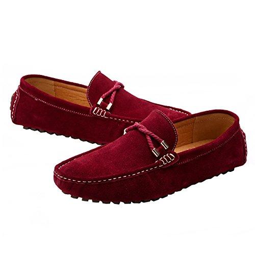 ODEMA hommes de conduite Appartements à enfiler mocassin Flâneur Chaussures vin rouge