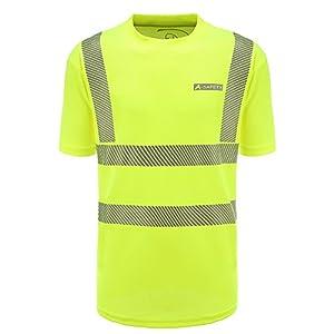 AYKRM Herren Atmungsaktiv Reflektierende Hi Sichtbarkeit Workwear Unisex Sicherheit kurzärmlig Warnschutz Security Sicherheits T shirt Größe XL,gelb