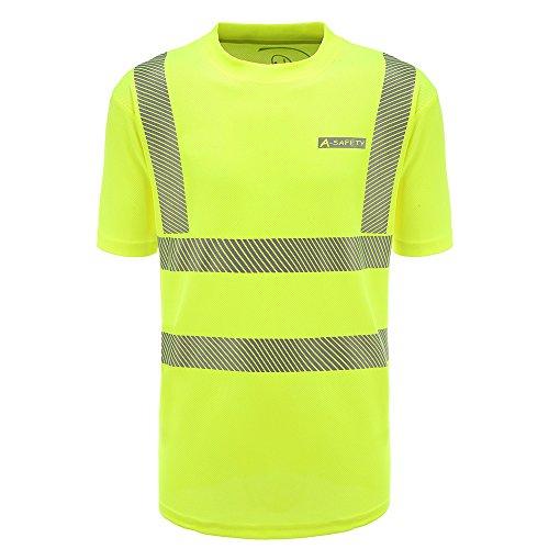 AYKRM Herren Atmungsaktiv Reflektierende Hi Sichtbarkeit Workwear Unisex Sicherheit kurzärmlig Warnschutz Security Sicherheits T shirt Größe L,gelb (Sicherheit T-shirt Gelb)