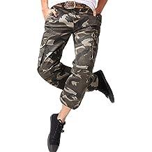 OCHENTA Homme Adultes Combat Pantalons Treillis Militaire Cargo Armee  Pantalon de Travail Multi Poches Coton ( fe238ba3a39