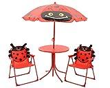 """Gartenmöbelset Kinder """"Marienkäfer"""" Gartenmöbel Sitzgruppe Sitzgarnitur Sitzmöbel Garten Tisch Stuhl Sonnenschirm Zelt rot Outdoormöbel Spielzelt (Sitzgruppe Set)"""