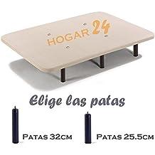 BASE TAPIZADA + 6 PATAS DE METAL CON TEJIDO 3D Y VÁLVULAS DE TRANSPIRACIÓN-135x190cm-PATAS 26CM