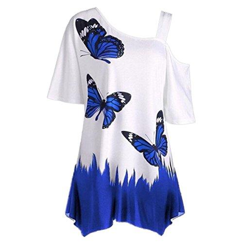 OVERDOSE Damen Sommer Schulterfrei Kurzarm T-Shirt Oberteile Große Größe Frauen Schmetterling Druck Casual Tops Bluse(D,XXL) (Shirt Short Plus Sleeve Cool)