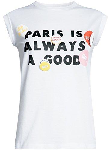 oodji Ultra Donna T-Shirt con Scritta e Risvolti su Maniche Bianco (1029P)