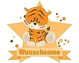 plot4u Tiger Wandtattoo Türschild mit Name personalisierbar Kinderzimmer Türaufkleber Baby Wandaufkleber in 9 Größen (25x22cm mehrfarbig)