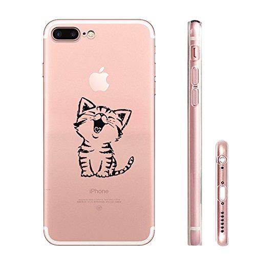 iPhone 7 Hülle, Schutzhülle Case Silikon- Clear Ultra Dünn Durchsichtige Backcover TPU Case für iPhone 7 Nette Katze