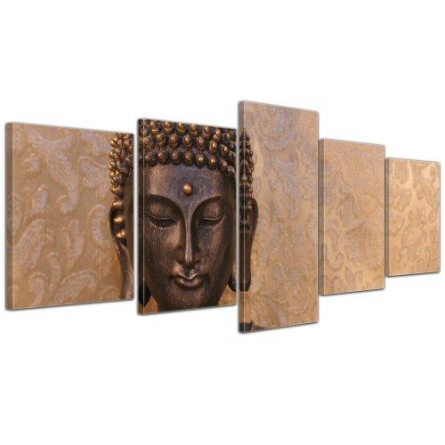 """Kunstdruck mit Winter SALE """"Buddha"""" Bild auf Leinwand - 200x80 cm 5 teilig - Leinwandbilder - Bilder als Leinwanddruck - Wandbild von Bilderdepot24 - Geist und Seele - Zen Buddhismus"""