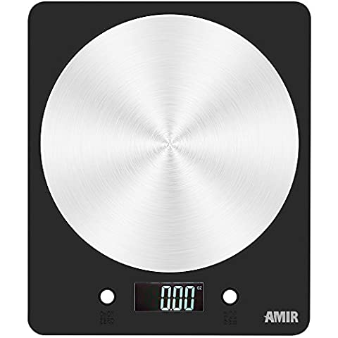 AMIR Digital Kitchen Scale, 11lb/5000g Electronic Cooking Food Scale, Weighing Sacles with LCD Display, Accurate Gram, Slim Design, for Home, Kitchen (Batteries