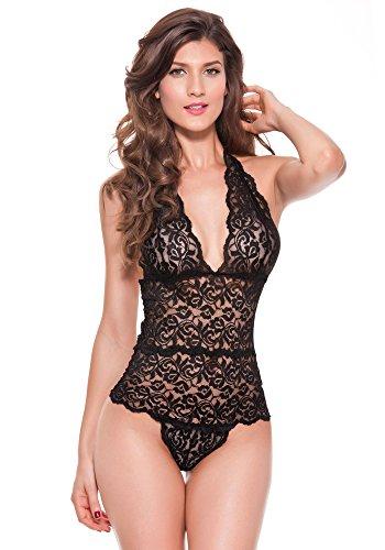 DotVol Mujer Lencería Sexy Deep V Halter Neck Open Back Body de una Pieza  Plus Size 2b0b3853ccd2
