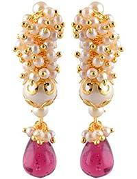 Navbharat Desi Gurl Off-White Pearl Jhumki Earrings For Women (Nb33)
