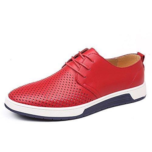 Herren Freizeit Schuhe Aus Leder Business Anzugschuhe Mesh Atmungsaktiv Lederschuhe Oxford Halbschuhe Zum Schnürer Flache Slipper für Party Hochzeit Rot Übergrößen 46