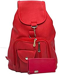 SALEBOX Leather Bagpack Ideal For School & College Girls/Boys With Wallet Combo- Aqua/Green
