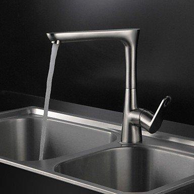Küchenarmaturen zeitgenössische Nickel gebürstet Messing einzigen Handgriff ein Loch drehbar Waschbecken Wasserhahn