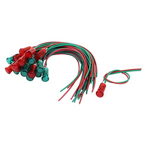 sourcingmap® 10 Paar AC 110/220V 2 Draht Rot Grün Plastik Signal Pilot Kontrollleuchte de (Rote Kontrollleuchte)