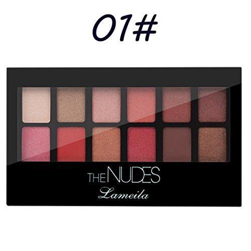 LCLrute Top Qualität Lameia 12 Farbe Perle Glitter Lidschatten Pulver Palette Matte Lidschatten Kosmetik Make-Up (A)