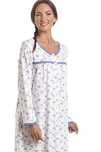 Chemise de nuit classique à manches longues - imprimé floral - bleu et blanc Bleu