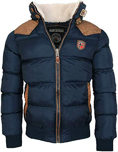 Geographical Norway warme Winterjacke Designer Herren Winter Stepp Jacke [GeNo-31-Navy-Gr.2XL]