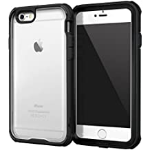 iPhone 6 fundas carcasa caso Case, roocase [Glacier TOUGH] iPhone 6 (4.7) Hybrid Scratch Resistant Clear PC / TPU Armor Full Body Protection Case Cover with Built-in Screen Protector for Apple iPhone 6 4.7, Granite Black